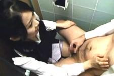 「もうイっていいよ〜」部下の事務員OLに視姦されながら会社のトイレでセンズリ射精する上司M男くん!