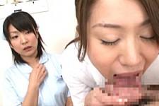 「私がしっかりやるから見ててね〜」熟女ナースが新人ナースの前で患者をディープスロートでフェラ抜き!大堀香奈・早川なお