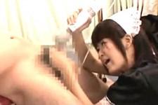 「臭いチンカス溜まり過ぎじゃない〜」ドSメイドが包茎M男の皮を無理矢理剥いて淫語連発で亀頭電マ責め!